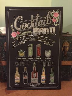 Post with 0 votes and 2518 views. My husband made this DIY cocktail menu for our wedding last Saturday - I can't get over it! Chalkboard Wedding, Wedding Menu, Wedding Signs, Diy Wedding, Wedding Planner, Wedding Chalkboards, Wedding Stuff, Wedding Shit, Wedding Bells