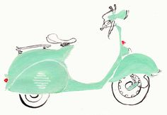 Vespa Mint Green  Illustration by JollyEdition on Etsy, $10.00  I have always wanted a Vespa...  pink, I think!