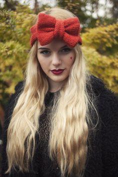 Knitted Bow Headband, Knitted Headband, Cute and Cosy Ear Warmer in Ru – Beauxoxo- Handmade, Hair Accessories