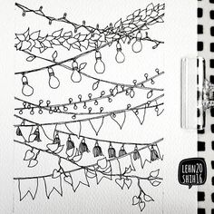 Fairy lights and pennants. Doodles for your Bullet Journal! Bullet Journal Key, Bullet Journal Printables, Bullet Journal Junkies, Bullet Journal Ideas Pages, Bullet Journal Layout, Bullet Journal Inspiration, Sketch Journal, Doodle Drawings, Doodle Art