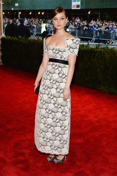 Bella Heathcote Evening Dress - Bella Heathcote chose a white and gray lace dress with structured sleeves for her sweet and feminine look at the 2013 Met Gala.