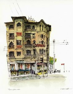 Yeniceriler Cd, Istanbul by Chris Lee Watercolor Architecture, Art And Architecture, Pen And Watercolor, Watercolor Illustration, Watercolor Paintings, Chris Lee, Street Pictures, City Sketch, Pen And Wash
