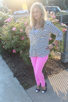 #pink, @Gap, #stripes, #blue, #outfit, #blogger, #summer, #skinnies, #heels, #silver, #watch, @FOREVER.com 21, @Target, @Laura Mcfarlane*s