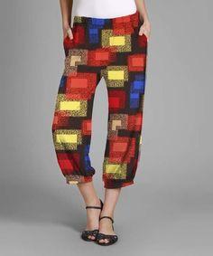 Look at this #zulilyfind! Black & Red Geometric Harem Pants - Plus #zulilyfinds