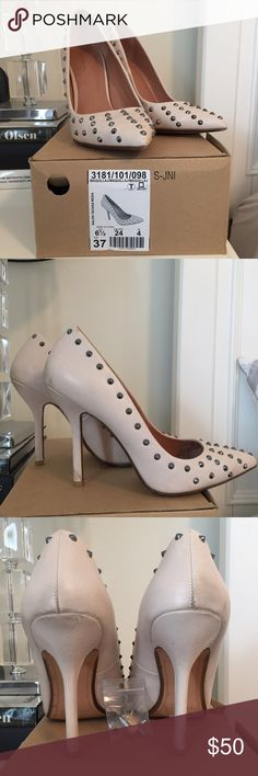 Zara size 6.5 studded heels, used with box Worn only a few times Zara heels size 6.5/37. A few scuffs and discolorations as shown in photos (mostly on back). Heels/soles in great shape and still have the extra heel cap. Nude leather with silver studs. Zara Shoes Heels