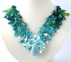 Aquamarine Turquoise Green Gradient Free form Peyote Stitch Beaded Necklace OOAK Art Jewelry FREE SHIPPING