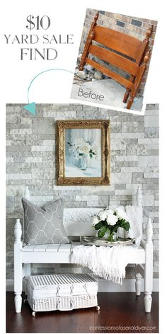42 Super Ideas for diy headboard bench how to make White Painted Furniture, Refurbished Furniture, Repurposed Furniture, Rustic Furniture, Furniture Makeover, Handmade Furniture, Refurbished Headboard, Contemporary Furniture, Diy Furniture