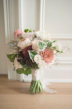 dahlia and rose bouquet, photo by MGB Photo http://ruffledblog.com/manhattan-loft-wedding #flowers #weddingbouquet