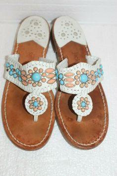 e37998cf7 JACK ROGERS Sandals WHITE LEATHER Turquoise Coral Stones Size 8 Womens EUC   fashion  clothing