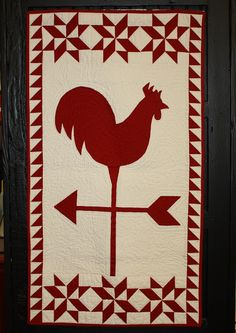 Red and White Rooster Weathervane Wall Quilt