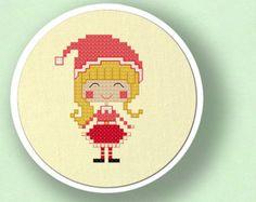 Happy Christmas Elf Girl. Cross Stitch Pattern PDF por andwabisabi
