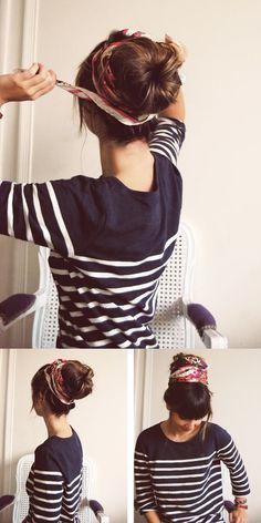 head wrap hair ideas diy easy cute boho bun, for around a beautiful dread bun! Bandana Hairstyles, Messy Hairstyles, Summer Hairstyles, Pretty Hairstyles, Easy Vintage Hairstyles, Chignon Headband, Hair Day, Hair Inspiration, Curly Hair Styles