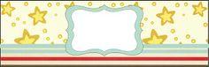 Fundo Estrelas e Listras Azul, Vermelho e Marrom - Kit Completo com molduras para convites, rótulos para guloseimas, lembrancinhas e imagens!