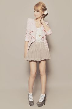 light pink romwe blazer // white Payless socks// heather gray michael antonio heels// heather gray skirt // white Forever 21 top // silver necklace