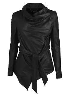 Muubaa Clover Belted Jacket in Black Washed Leather