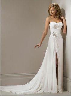 Strapless Slim Line Wedding Dress Sexy Side Slit