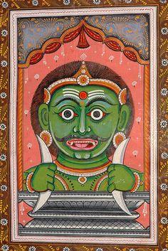 Navagraha (The Nine Planets) - Rahu. Watercolor on Patti. Artist: Rabi Behera X Indian Art Paintings, Amazing Paintings, Mural Painting, Silk Painting, Hindu Deities, Hinduism, Indiana, Traditional Japanese Tattoos, Vedic Astrology