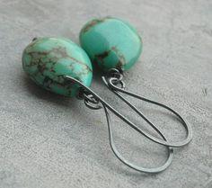 Natural turquoise earrings - Hook earrings - Oxidized silver earrings - Dangle earrings - Gemstone earrings - Birthday gift