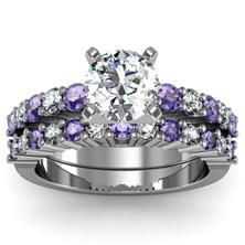 Round Diamond Tanzanite Engagement Ring With Band Set In 18k White Gold