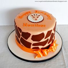 Giraffe Print Birthday Cake, by Angela Tran (Sugar Sweet Cakes and Treats)