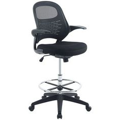 Advance Drafting Padded Mesh Seat Rotating Armrests Office Chair in Black