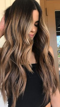 Hair Ombre Caramel Balayage Colour 59 New Ideas Hair Color Balayage, Balayage On Long Hair, Long Hair Highlights, Honey Highlights, Summer Highlights, Haircolor, Cool Hair Color, Brunette Hair, Hair Looks