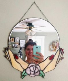 The Fortune Teller Mirror Stained Glass Mirror, Faux Stained Glass, Stained Glass Projects, Stained Glass Patterns, Mosaic Glass, Beveled Mirror, Goth Home Decor, Glass Photo, Glass Design