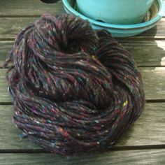 Wool and Recycled Silk yarn - Black 10 on Etsy, $6.75