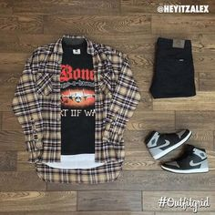 streetwear fashion Todays top is by heyitzalex. Dope Outfits For Guys, Swag Outfits Men, Flannel Outfits, Stylish Mens Outfits, Casual Outfits, Fashion Outfits, Fashion Fashion, Hype Clothing, Mens Clothing Styles