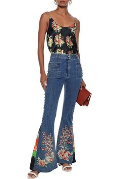 Camilla Queen Of Kings Printed Crepe-paneled Embellished High-rise Flared Jeans In Mid Denim Denim Flare Jeans, Denim Flares, Camilla Clothing, World Of Fashion, Bell Bottom Jeans, Your Style, King, Queen, Woman