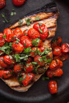Grilled Swordfish with Tomatoes and Basil - TheCornerKitchenBlog.com