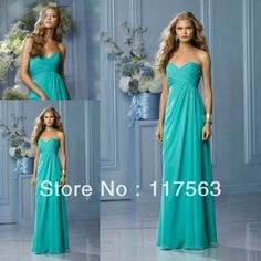 Free shipping!Big promotion sweetheart chiffon floor length long turquoise bridesmaid dress brides maid dress BD118  These dresses turned out to be amazing and cheap! I got 3 and was able to custom order sizes to fit my bridesmaids. Still needed some alterations to length and also under bust as you would expect :)