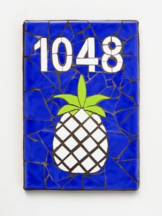 Outdoor House Number Mosaic House Number Ceramic Tile House Number Plaque Beach House Number PINEAPPLE BLUE by jenzartcreations on Etsy