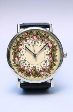Floral Handmade Watch, Flower Wreath Watch, Spring Flowers, Vintage Style Leather Watch, Boyfriend Watch, Unisex Watch, Handmade Jewelry