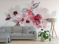 High quality peel and stick removable self adhesive wallpaper/ watercolor flower mural/ nursery, bed