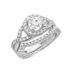1.30 Carat (ctw) 18K White Gold Round Cut Diamond Ladies Bridal Swirl... ($2,069) ❤ liked on Polyvore featuring jewelry, rings, white, diamond bridal rings, round cut engagement rings, diamond rings, swirl engagement rings and diamond wedding rings