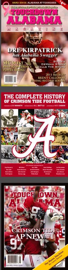 Alabama Crimson Tide magazine covers  #Alabama #RollTide #BuiltByBama #Bama #BamaNation #CrimsonTide #RTR #Tide #RammerJammer