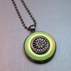 Vintage Button Necklace Pendant #Upcycled #Jewelry Repurposed by BluKatDesign