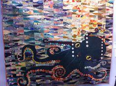 Beautiful eye catching Octopus quilt -  Tokyo Quilt Festival 2013  Lots of little yoyo discs! Stunning!