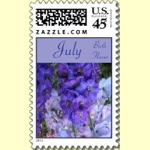 Delphinium is the birth flower for July. Gorgeous hues of blue make a nice postage stamp for July birthdays.