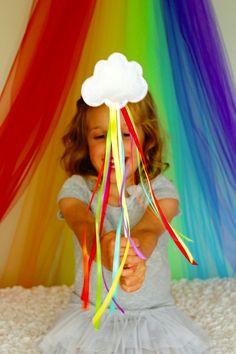 Rainbow Ribbon Wands - my little pony party favour? Festa Rainbow Dash, Rainbow Parties, Rainbow Birthday Party, Rainbow Theme, Unicorn Birthday, Unicorn Party, Kids Rainbow, Rainbow Ribbon, Happy Birthday