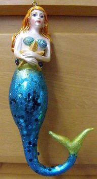 Glass Mermaid Ornament Blue