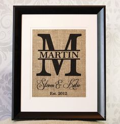 Personalized Burlap Monogram Family Name
