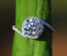 Holy Moly.. 14k White gold - Diamond Engagement Ring - Halo - UNIQUE -  Thin Swirl - Pave - Weddings- Luxury- Brides