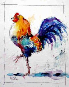 Watercolor Bird, Watercolor Animals, Watercolor Illustration, Watercolor Paintings, Watercolors, Animal Paintings, Animal Drawings, Chicken Illustration, Rooster Painting