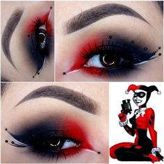 Black and red comical unique dramatic costume makeup