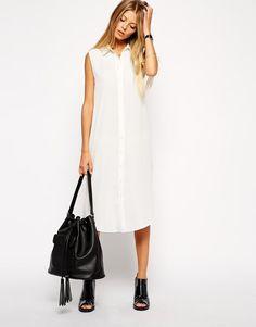 Asos sleeveless shirt dress