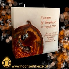 Hochzeitskerze mit Holz Candles, Homemade, Gifts, Timber Wood