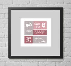Personalised Print - It's a Girl (New Baby). This personalised typographic art print is a lovely gift for any new baby in your life, whether your own new baby or that of family or friends.