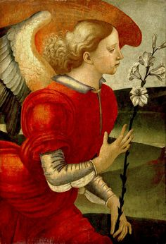 [Renaissance] The Archangel Gabriel by Luca Signorelli (Italian, ca. 1490 in Tuscany. Was possibly part of a larger painting. Saint Gabriel, Italian Paintings, I Believe In Angels, High Renaissance, Guardian Angels, Italian Art, Angel Art, Sacred Art, Large Painting